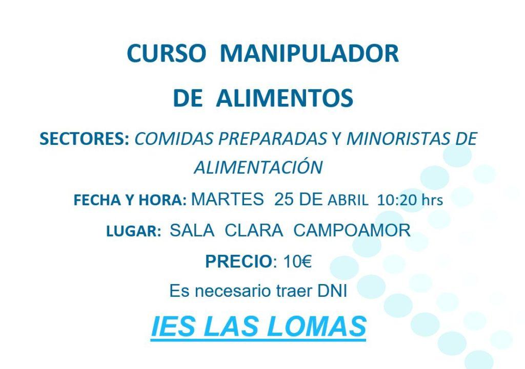 Evento curso manipulador de alimentos abril 2017 ies las lomas - Www manipulador de alimentos es ...
